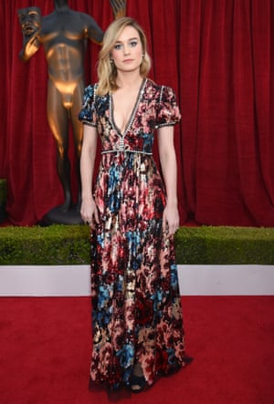 Brie Larson, one of the award's all-female presenter line-up, in bespoke Gucci.