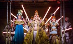 Emma Carrington (Nefertiti), Anthony Roth Costanzo (Akhnaten) and Rebecca Bottone (Queen Tye) in Akhnaten at London's Coliseum