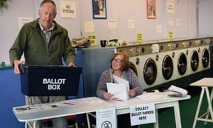 A launderette turned polling station in Oxford