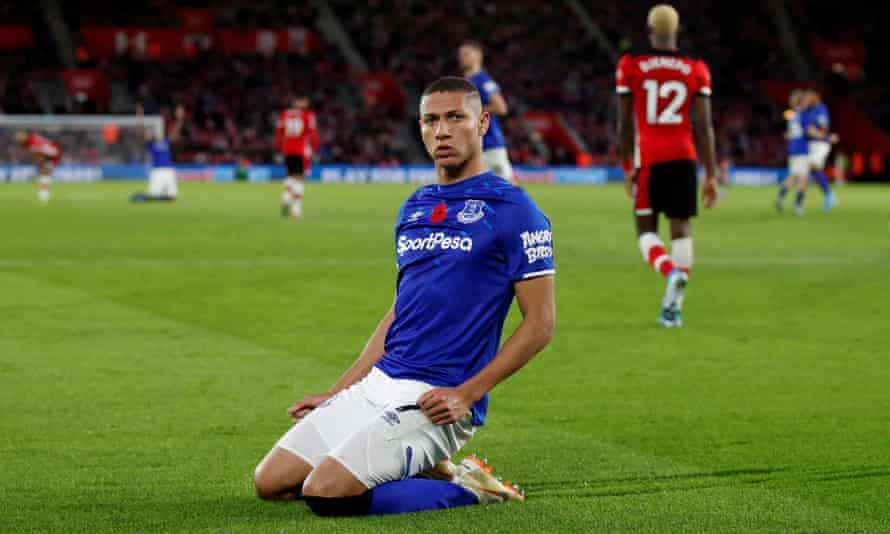 Richarlison celebrates after scoring for Everton at Southampton.