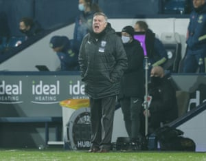West Brom manager Sam Allardyce looks unimpressed.