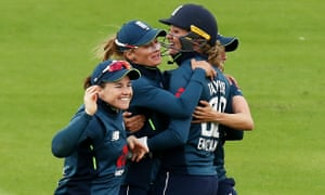 Danielle Wyatt of England celebrates catching out Lizelle Lee of South Africa off the bowling of Georgia Elwiss.