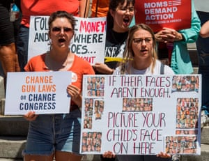 Protesters call for gun control after a string of high-profile mass shootings at a rally on 17 August in Los Angeles.