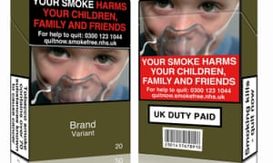 An image released by Action on Smoking and Health in May 2016 showing a mock-up design of a standardised cigarette pack.