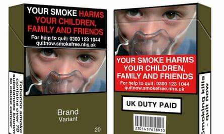 Standardised plain cigarette packets.