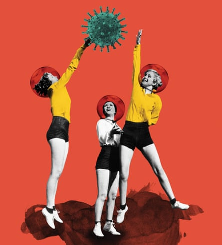 Illustration of three teens playing netball with a virus molecule