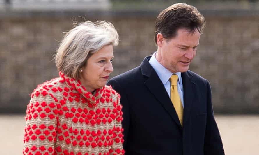 Clegg with Theresa May in March 2015.