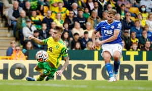 Whoomp. Leicester City's Marc Albrighton puts the visitors ahead.