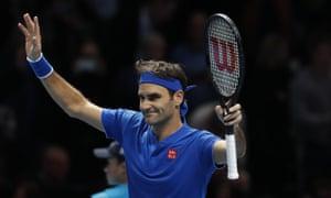 Roger Federer celebrates after his 6-2, 6-3 win.
