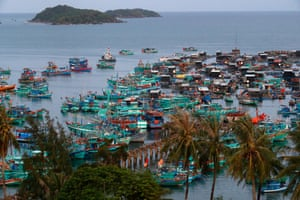 Fisher boats at An Thoi harbour, Vietnam.
