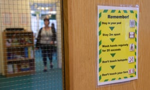 A notice in a primary school to remind pupils of actions to minimise the transmission of coronavirus