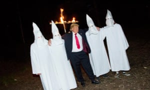 An image from Alison Jackson's book showing a Trump character with members of the Ku Klux Klan.