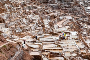 Cusco, Peru: Workers at the Maras salt-evaporation ponds, which have been in use since pre-Inca times