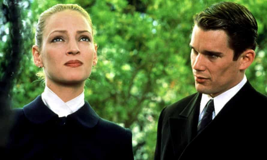 With his first wife, Uma Thurman, in Gattaca.