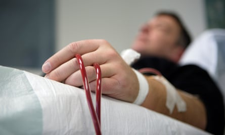 A patient undergoes dialysis at the Dominikus hospital.