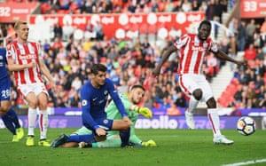Morata scores Chelsea's fourth goal past Butland.