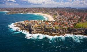 Aerial view of Bondi, New South Wales, Australia