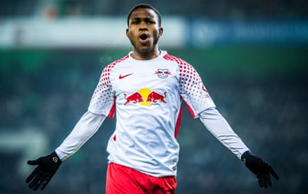 Ademola Lookman in action for RB Leipzig.