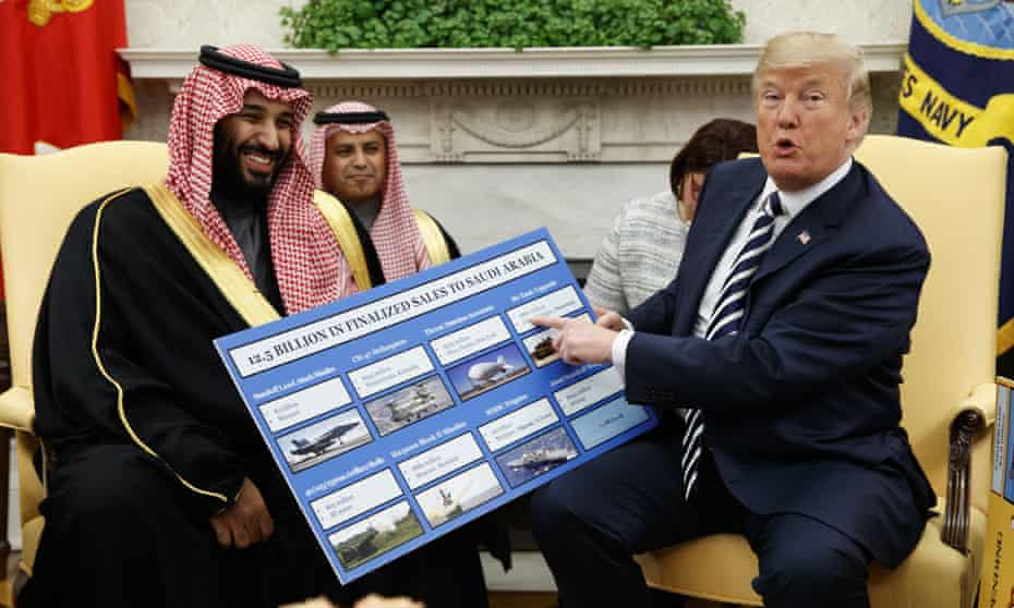 Mohammed bin Salman meets Donald Trump. The US president hoped Saudi Arabia would share some of its wealth 'in the form of the purchase of the finest military equipment in the world'.
