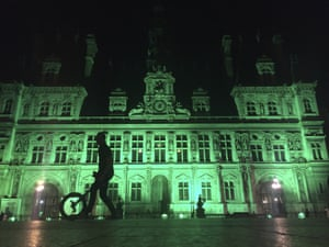 City Hall of Paris, France, illuminated in green following the announcement by Donald Trump that the US will withdraw from the 2015 Paris accord