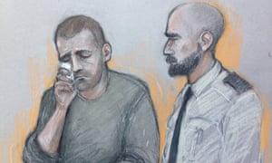 A court artist sketch of Ryszard Masierak at an earlier magistrates court hearing