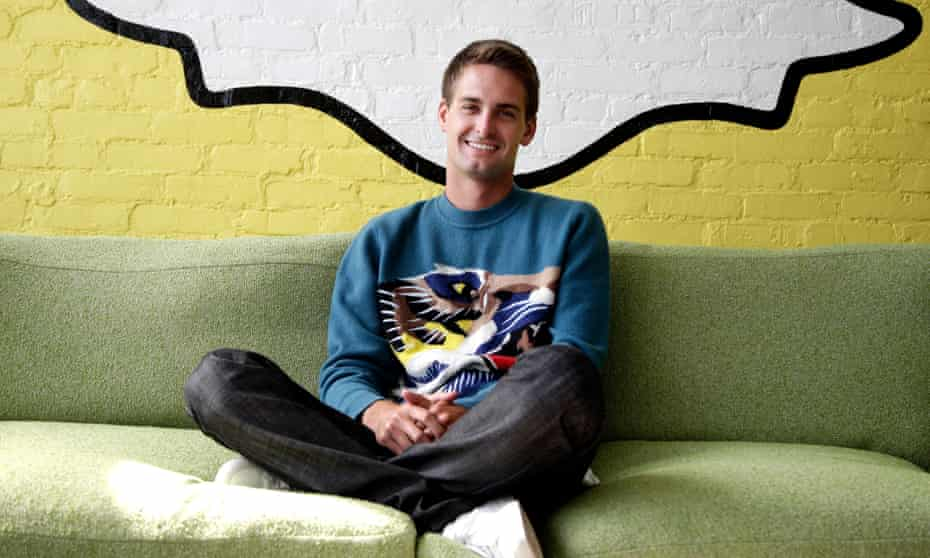 Spiegel at the Snapchat offices in Los Angeles in 2013.
