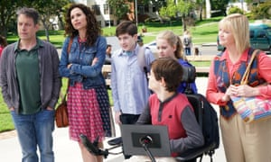 John Ross Bowie, Minnie Driver, Mason Cook, Micah Fowler, Kyla Kenedy and Dina Spybey-Waters in the 'promising' Speechless.