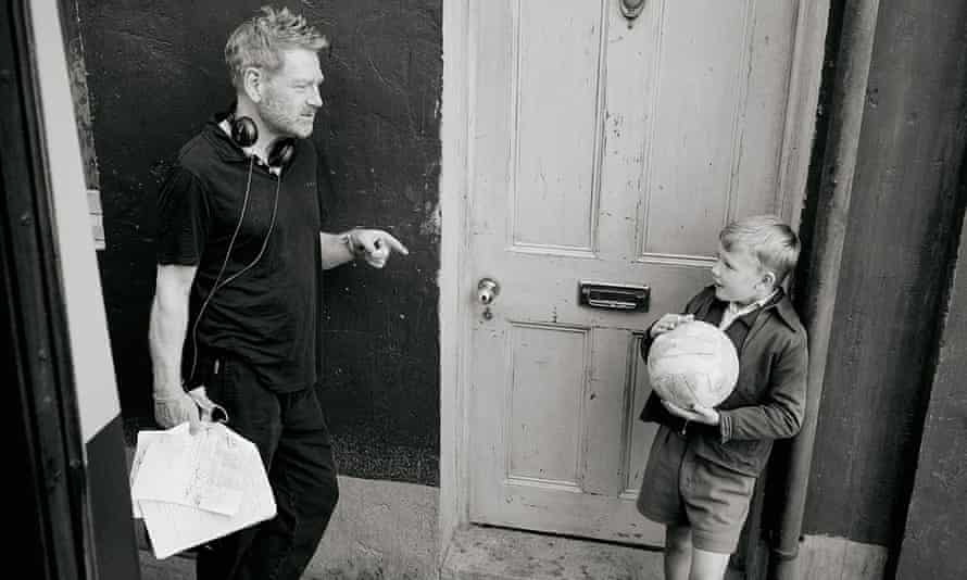 Kenneth Branagh with Jude Hill on the set of the film Belfast.