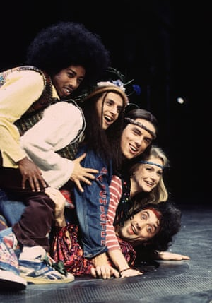 Paul J Medford, Felice Arena, John Barrowman, Andree Bernard and Paul Hipp in Michael Bogdanov's production of Hair at the Old Vic, 1993.