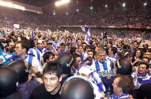 Deportivo fans celebrate winning the title in May 2000.