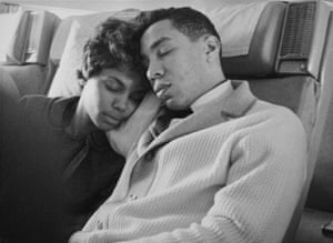 Smokey and Claudette Robinson rest on the journey home. Courtesy of Barney Ales. From the book Motown: the Sound of Young America published by Thames & Hudson