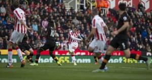 Xherdan Shaqiri thumps home Stoke City's third goal.