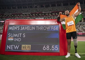 India's Sumit Antil sets a World Record of 68.55 meters and wins the gold medal during the men's javelin F44.