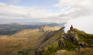 Hiker in Snowdonia national park, Wales