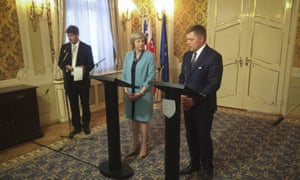 Theresa May with the Slovakian prime minister Robert Fico (right) at a press briefing in Bratislava.