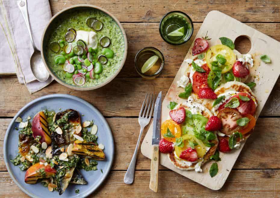 Roberta Hall's mackerel, salsa verde and peaches; cucumber gazpacho; and tomato, ricotta and strawberry flatbread.