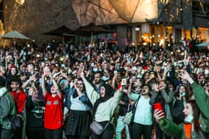People gathered at Melbourne's Federation Square to celebrate the end of 2020