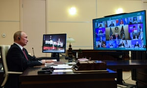 Vladimir Putin attends the G20 summit via video conference.
