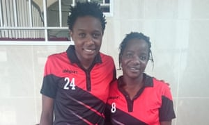 Kenya players Wendy Achieng, left, and Ann Aluoch.
