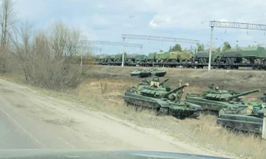 Tanks and military vehicles in the Voronezh region of Russia