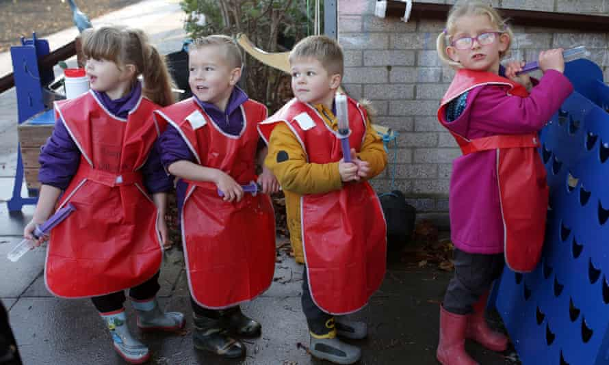 Pupils in the reception class of Friars primary school and nursery in Southend-on-Sea.