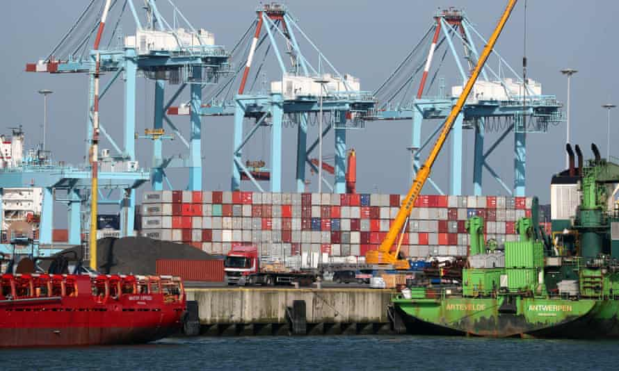 Shipping containers at the port of Zeebrugge in Belgium.