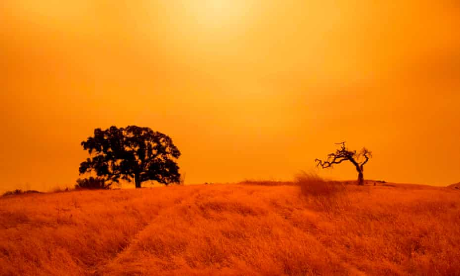 An orange sky filled with wildfire smoke hangs above hiking trails at the Limeridge Open Space in Concord, California.