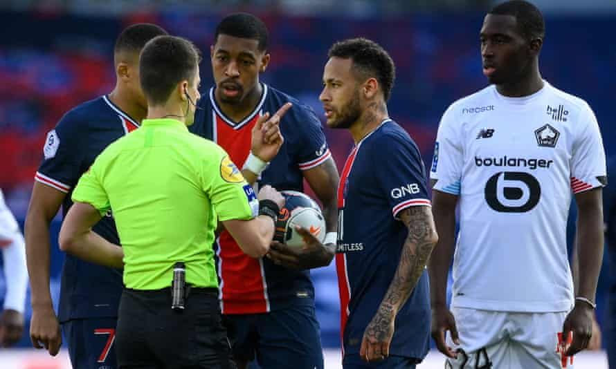 Neymar (second right) was sent off as PSG slipped to a 1-0 defeat against Lille to throw the Ligue 1 title race wide open