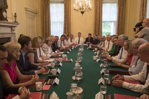 Theresa May holds her first cabinet meeting at Downing Street on July 19, 2016