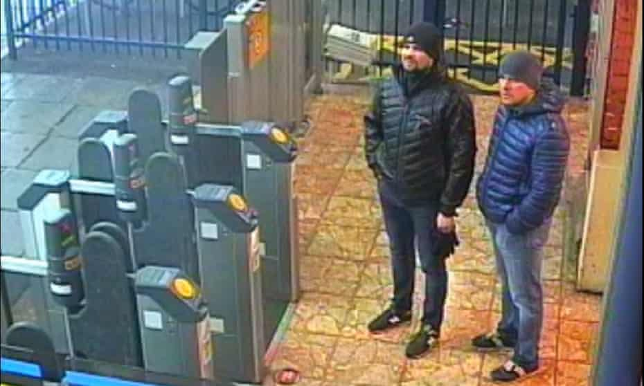 Ruslan Boshirov and Alexander Petrov at Salisbury train station: they said they wanted to see the city's 'famous 123-metre spire'.