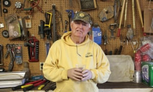 Johnson in the workshop where he makes and mends hives.
