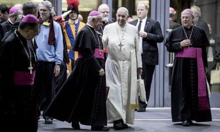 Pope Francis talks to bishops