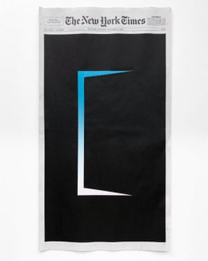 The covers of the New York Times newspapers painted on by artist and designer Sho Shibuya with lockdown sunrises and political news events .