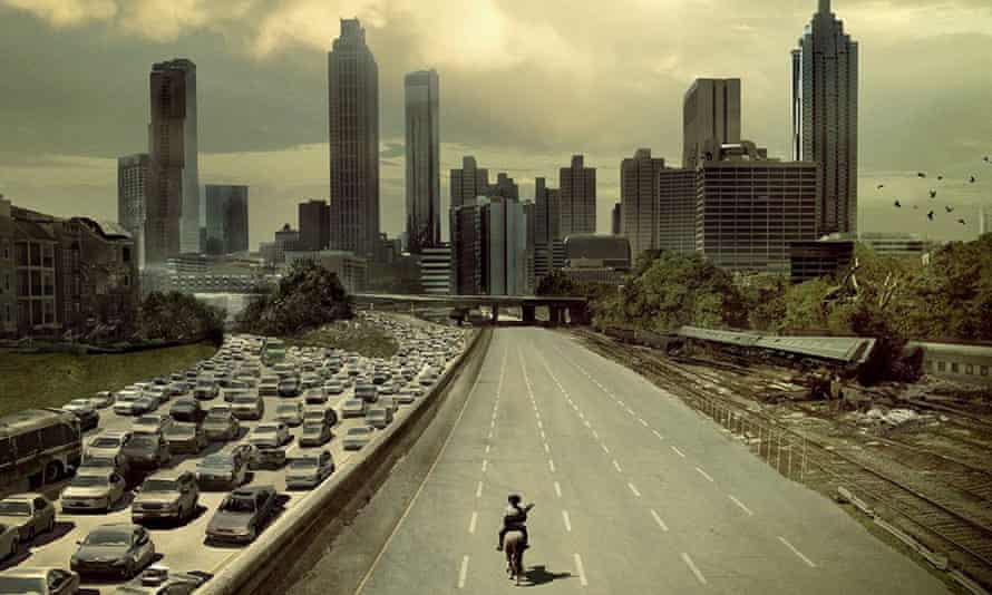 Atlanta's Downtown skyline in a still from the TV show The Walking Dead